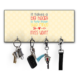 Teacher Quote Key Hanger w/ 4 Hooks w/ Name or Text