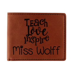 Teacher Quote Leatherette Bifold Wallet (Personalized)
