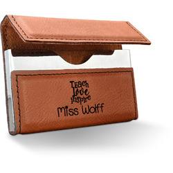 Teacher Quote Leatherette Business Card Case (Personalized)
