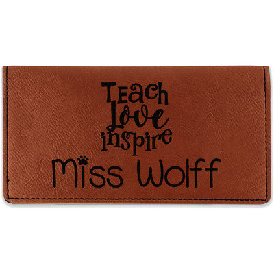 Teacher Quote Leatherette Checkbook Holder (Personalized)