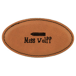Teacher Quote Leatherette Oval Name Badge with Magnet (Personalized)