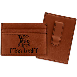 Teacher Quote Leatherette Wallet with Money Clip (Personalized)