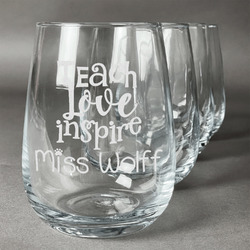 Teacher Quote Stemless Wine Glasses (Set of 4) (Personalized)