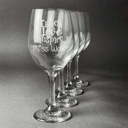 Teacher Quotes and Sayings Wineglasses (Set of 4) (Personalized)
