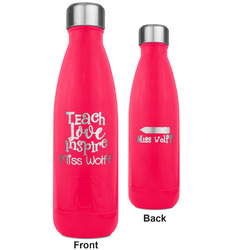 Teacher Quote RTIC Bottle - 17 oz. Pink - Engraved Front & Back (Personalized)