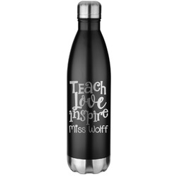 Teacher Quotes and Sayings Black Water Bottle - 26 oz. Stainless Steel  (Personalized)