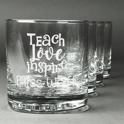 Teacher Quote Whiskey Glasses (Set of 4) (Personalized)