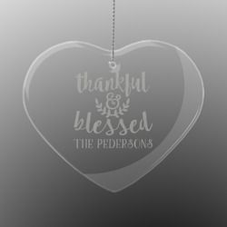 Thankful & Blessed Engraved Glass Ornament - Heart (Personalized)