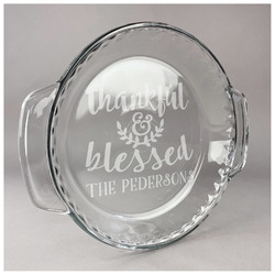 Thankful & Blessed Glass Pie Dish - 9.5in Round (Personalized)
