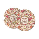 Thankful & Blessed Sandstone Car Coasters (Personalized)