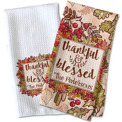 Thankful & Blessed Waffle Weave Kitchen Towel (Personalized)