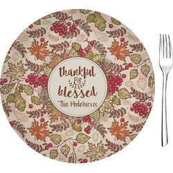 "Thankful & Blessed 8"" Glass Appetizer / Dessert Plates - Single or Set (Personalized)"
