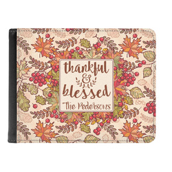 Thankful & Blessed Genuine Leather Men's Bi-fold Wallet (Personalized)