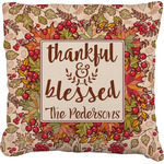 Thankful & Blessed Faux-Linen Throw Pillow (Personalized)