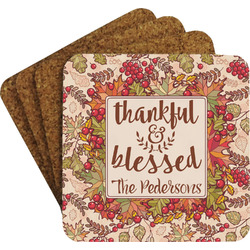 Thankful & Blessed Coaster Set w/ Stand (Personalized)