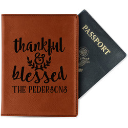 Thankful & Blessed Leatherette Passport Holder (Personalized)
