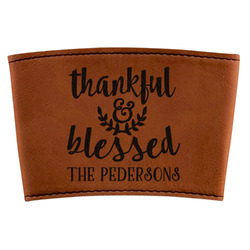 Thankful & Blessed Leatherette Mug Sleeve (Personalized)