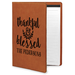 Thankful & Blessed Leatherette Portfolio with Notepad (Personalized)