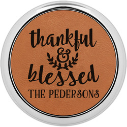 Thankful & Blessed Leatherette Round Coaster w/ Silver Edge - Single or Set (Personalized)