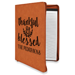 Thankful & Blessed Leatherette Zipper Portfolio with Notepad (Personalized)