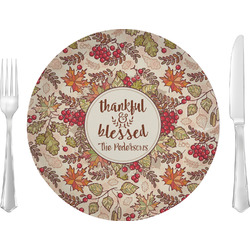 "Thankful & Blessed 10"" Glass Lunch / Dinner Plates - Single or Set (Personalized)"
