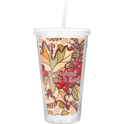 Thankful & Blessed Double Wall Tumbler with Straw (Personalized)