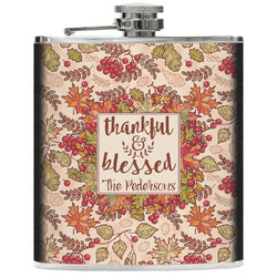 Thankful & Blessed Genuine Leather Flask (Personalized)