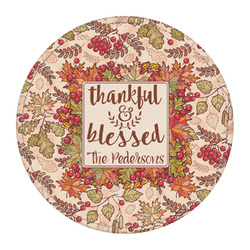 Thankful & Blessed Round Desk Weight - Genuine Leather (Personalized)