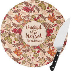 Thankful & Blessed Round Glass Cutting Board (Personalized)