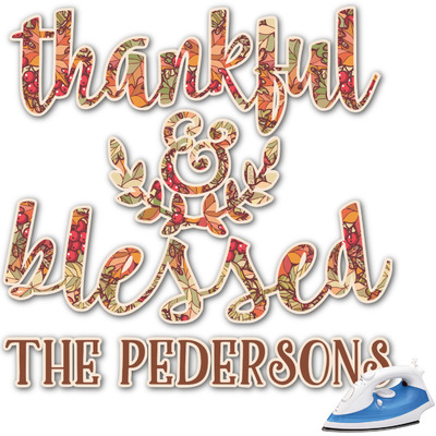 Thankful & Blessed Graphic Iron On Transfer (Personalized)