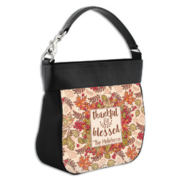 Thankful & Blessed Hobo Purse w/ Genuine Leather Trim (Personalized)