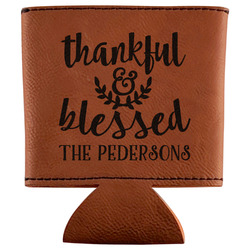 Thankful & Blessed Leatherette Can Sleeve (Personalized)