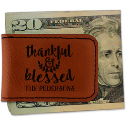 Thanksgiving Quotes and Sayings Leatherette Magnetic Money Clip (Personalized)