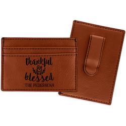 Thankful & Blessed Leatherette Wallet with Money Clip (Personalized)