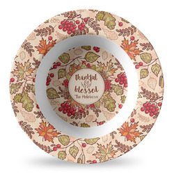 Thankful & Blessed Plastic Bowl - Microwave Safe - Composite Polymer (Personalized)