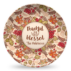 Thankful & Blessed Microwave Safe Plastic Plate - Composite Polymer (Personalized)