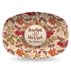 Thankful & Blessed Plastic Platter - Microwave & Oven Safe Composite Polymer (Personalized)
