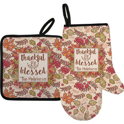 Thankful & Blessed Oven Mitt & Pot Holder (Personalized)