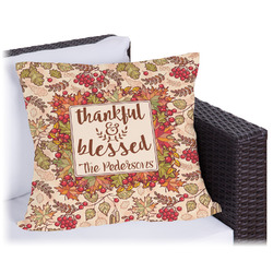 Thankful & Blessed Outdoor Pillow (Personalized)