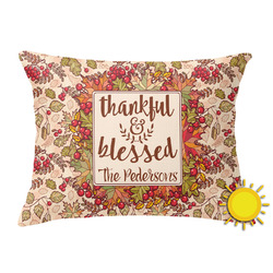 Thankful & Blessed Outdoor Throw Pillow (Rectangular) (Personalized)
