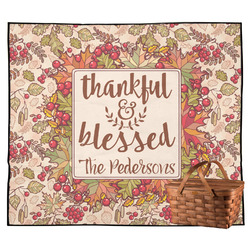 Thankful & Blessed Outdoor Picnic Blanket (Personalized)