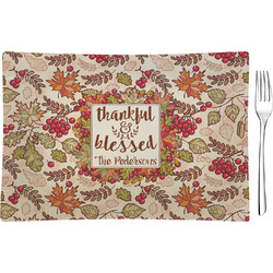 Thankful & Blessed Rectangular Glass Appetizer / Dessert Plate - Single or Set (Personalized)