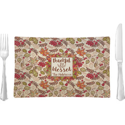 Thankful & Blessed Rectangular Glass Lunch / Dinner Plate - Single or Set (Personalized)