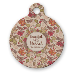 Thankful & Blessed Round Pet Tag (Personalized)