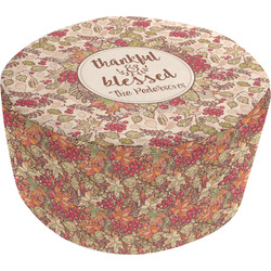 Thankful & Blessed Round Pouf Ottoman (Personalized)