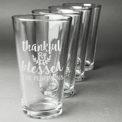 Thankful & Blessed Beer Glasses (Set of 4) (Personalized)