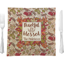 """Thankful & Blessed 9.5"""" Glass Square Lunch / Dinner Plate- Single or Set of 4 (Personalized)"""