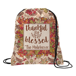 Thankful & Blessed Drawstring Backpack (Personalized)