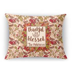 Thankful & Blessed Rectangular Throw Pillow Case (Personalized)