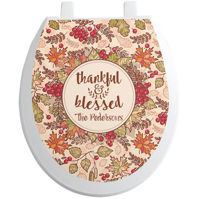 Thankful & Blessed Toilet Seat Decal (Personalized)